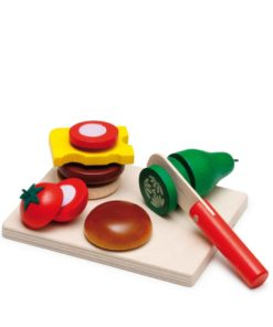 Realistic wooden play food wooden cheeseburger cutting set - Erzi
