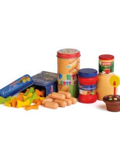 Realistic wooden play food children's party set - Erzi