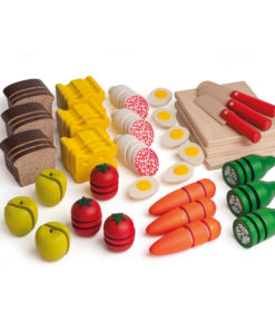 Wooden play food cutting and preparing set - Erzi