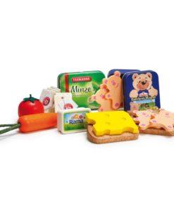 realistic wooden play food evening meal assortment - Erzi