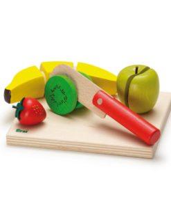 Realistic wooden play food - fruit salad cutting set - Erzi
