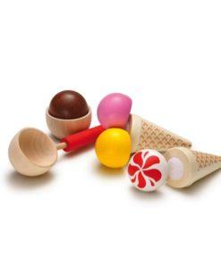 Realistic wooden play food ice-cream party set - Erzi