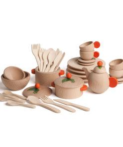 Wooden large cooking and crockery set nature - Erzi