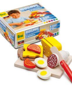 Realistic wooden play food - wooden sandwich cutting set - Erzi