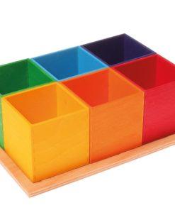 Handmade sustainable wooden toy 6-piece sorting helper - Grimm's
