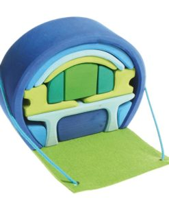 wooden play set Blue-green caravan - Grimm's