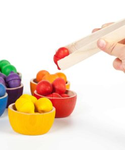 Bowls and acorns kit / Handmade sustainable wooden toy - Grapat