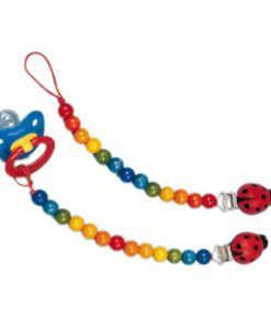 Dummy Chain Ladybug / Handmade wooden baby toy - Glückskäfer
