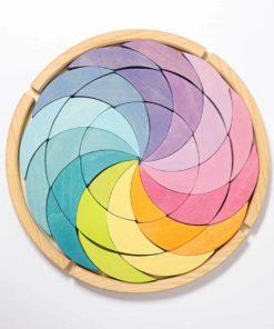 handmade sustainable wooden mandala puzzle blocks Pastel colour wheel building set - Grimm's