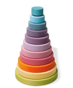 handmade wooden stacking toy Pastel disc tower - Grimm's