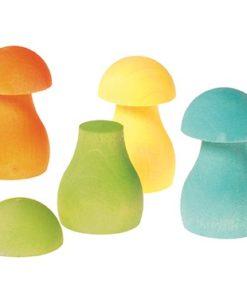 Jouets en bois durables faits main champignons pastel - Grimm's