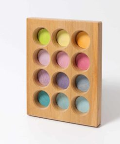 Handmade sustainable wooden toy Pastel sorting board - Grimm's