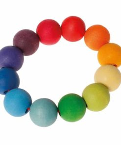 wooden baby toy Rainbow bead ring - Grimm's