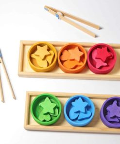 Handmade sustainable wooden toy Rainbow bowls sorting game - Grimm's