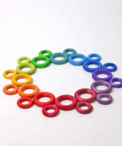 Handmade sustainable wooden toy Rainbow building rings - Grimm's