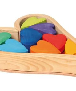 Handmade sustainable wooden toy Rainbow hearts - Grimm's