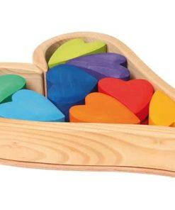 Jouet en bois durable fait main Coeurs d'arc-en-ciel - Grimm's