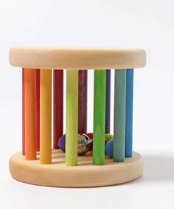 Handmade sustainable wooden baby sensory toy Rainbow rolling wheel - Grimm's