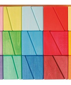 Handmade sustainable wooden rainbow blocks Sloping blocks - Grimm's