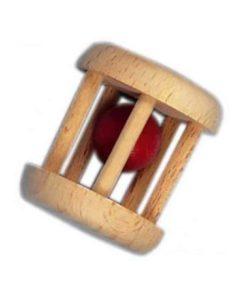 Wooden Baby Rattle: Cage / Handmade wooden baby toy - Glückskäfer