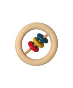 Wooden Baby Rattle: Discs / Handmade wooden baby toy - Glückskäfer