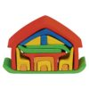 Wooden all-in dolls house with furniture in red / Handmade wooden stacking toy - Glückskäfer