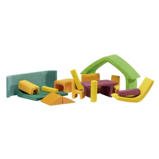 Wooden all-in house with furniture: green / Handmade wooden stacking toy - Glückskäfer