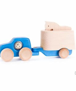 Bajo blue truck with horse and trailer : Handmade sustainable wooden toy vehicle