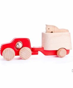 Bajo red truck with horse and trailer : Handmade sustainable wooden toy vehicle