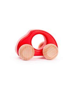 Beetle voiture rouge : Véhicule jouet en bois durable fait à la main - Bajo