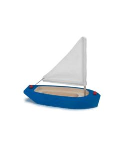 Blue Hull Sailing Boat : Handmade wooden toy boat - Glückskäfer