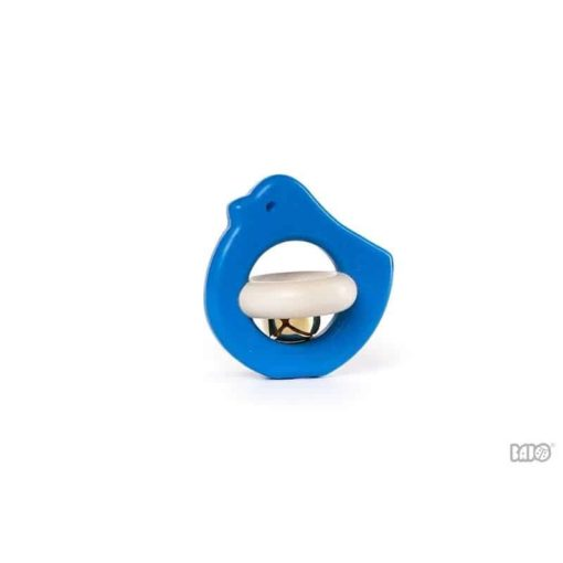 Blue bird rattle toy : Handmade sustainable wooden baby rattle - Bajo