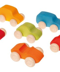 Coloured wooden cars / Handmade sustainable wooden toy vehicles – Grimm's