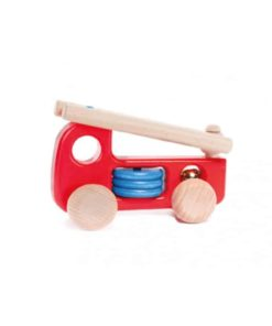 Handmade sustainable wooden toy Fire engine - Bajo