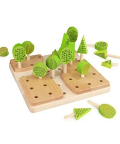 Handmade sustainable wooden toy landscaping set Forest Central Park - Bajo