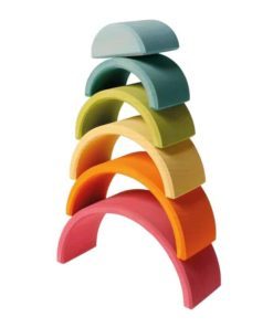 Medium pastel rainbow (6 Pieces) : Handmade sustainable wooden stacking toy - Grimm's