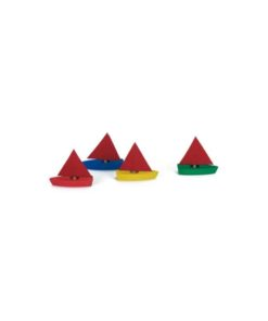 Set of 4 mini sailing boats / Handmade wooden toy boat - Glückskäfer