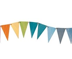Pastel pennant bunting / Handmade sustainable wooden decoration - Grimm's celebrations
