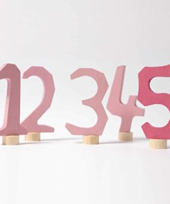 Wooden Waldorf birthday ring decorations Pink decorative numbers 1-5 - Grimm's