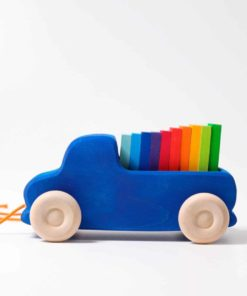Handmade sustainable wooden toy vehicle Pull along truck - Grimm's