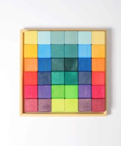Handmade sustainable wooden blocks Rainbow mosaic blocks - Grimm's