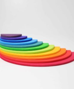 Handmade sustainable wooden creative puzzle Rainbow semi-circles - Grimm's