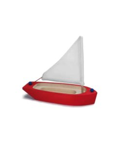 Red Hull Sailing Boat / Handmade wooden toy boat - Glückskäfer