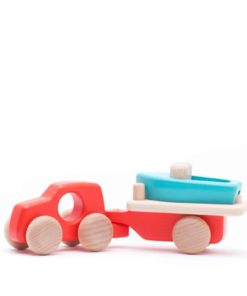 Handmade sustainable wooden toy vehicle Red truck with boat and trailer - Bajo