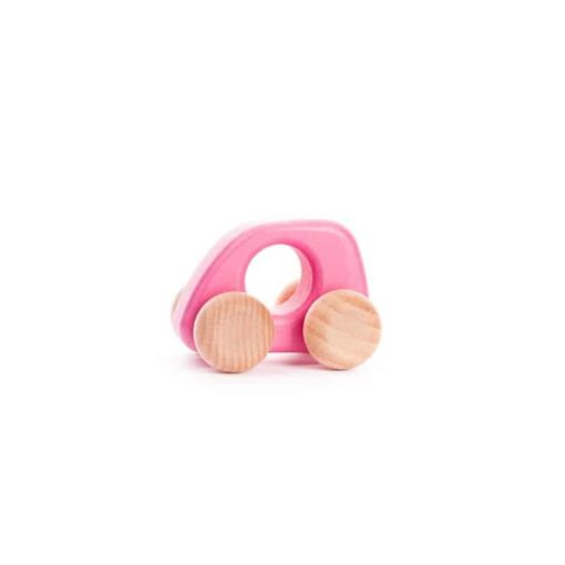 Small pink car / Handmade sustainable wooden toy vehicle - Bajo