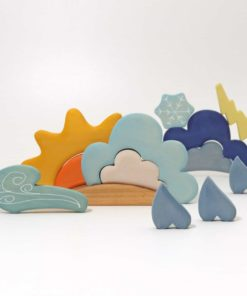 Handmade sustainable organic shaped wooden building blocks Weather building set - Grimm's