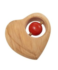 Wooden Baby Rattle- Heart Handmade wooden baby toy - Glückskäfer