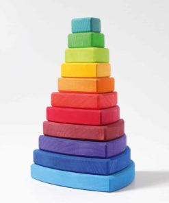 Conical rainbow tower wankel / Handmade sustainable wooden stacking toy - Grimm's