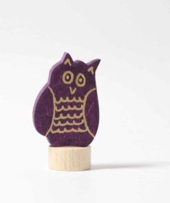 Owl decorative figure / Handmade wooden Waldorf birthday ring decoration - Grimm's