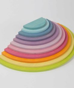 Handmade sustainable wooden creative puzzle Pastel semi circles - Grimm's